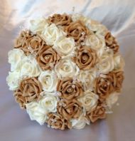 ARTIFICIAL IVORY / BEIGE FOAM ROSE BRIDE WEDDING BOUQUET POSIE CRYSTAL FLOWERS
